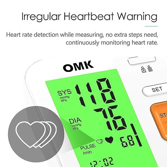 Tensiómetro Brazo Automático, OMK Monitor de Presión Arterial Preciso Con Brazalete 22-40cm, 2x120 Memorias, Pantalla Grande Con Retroiluminación Tricolor, ...