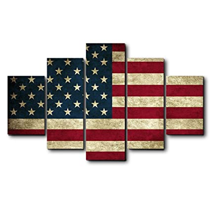Antique USA Flag Wall Decor Canvas Oil Painting Retro Rustic American  National Flag Wall Art For