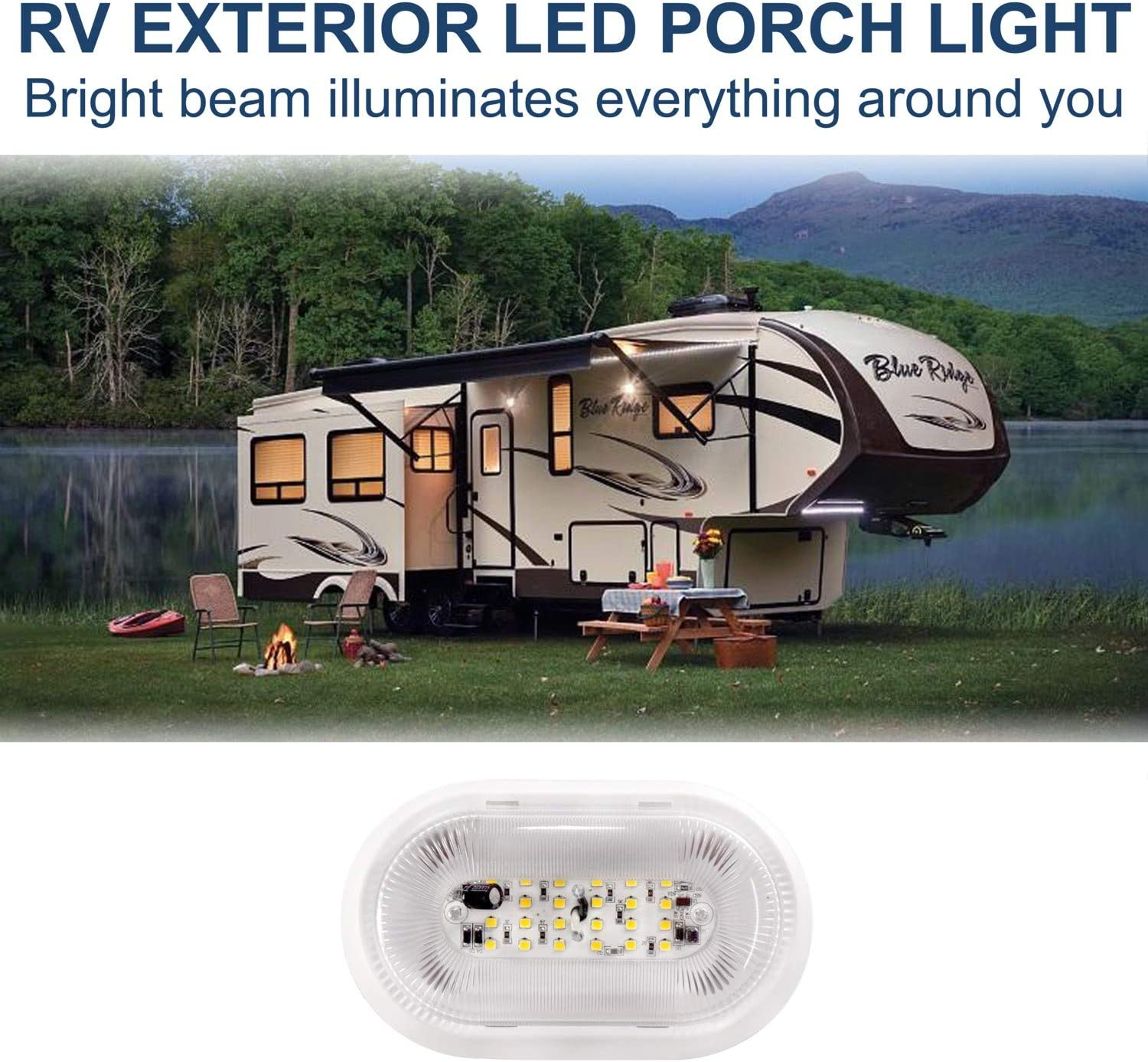 HQRP RV LED Porch 12V Lumen Exterior Outdoor Utility Light Replacement Trailer Camper Motorhome Lighting Fixture Plus HQRP Coaster