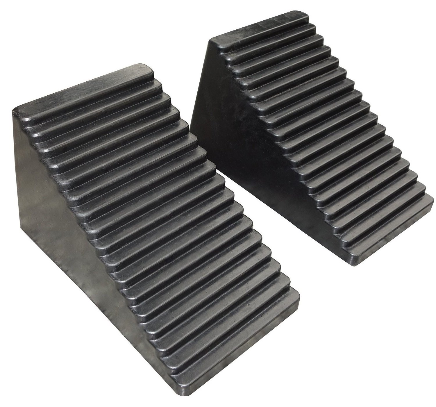 YM W4515 Rubber Wheel Chock, 6-1/2'' Length x 3-1/2'' Width x 3-3/4'' Height - Pack of 2