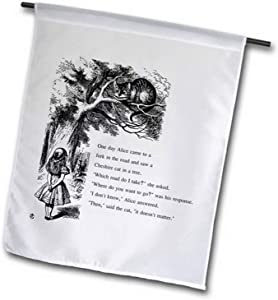"""3dRose fl_193782_1 Which Road Do i Take Cheshire Cat Alice in Wonderland Garden Flag, 12 by 18"""""""