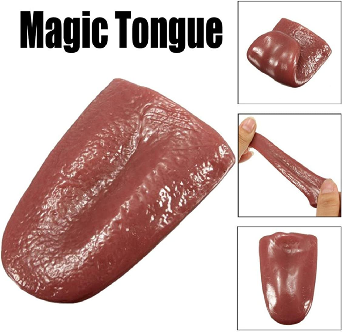 OUERMAMA 2 Pcs Horrible Stretchable Tongue Realistic Magic Tongue Props Fake Tongue Specially Function for Halloween Close-up Terror Magic Trick Comedy Magic Trick Accessories