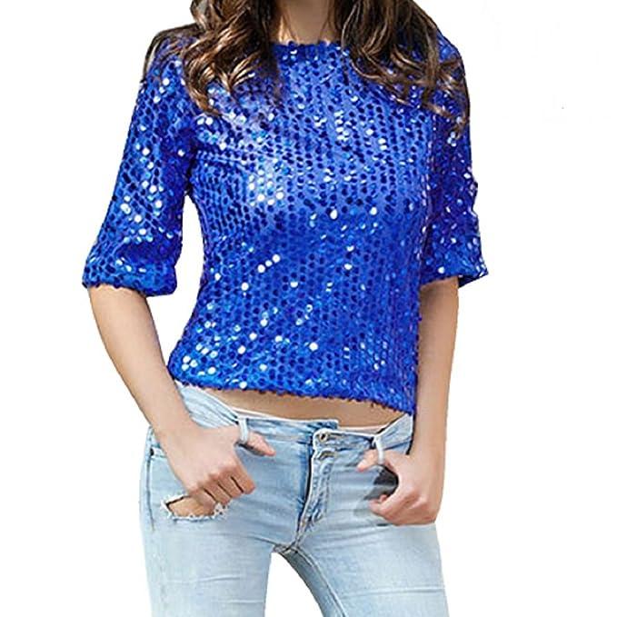 Camisetas Manga 3 4 Mujer Blusa de Verano Fiesta Top de Lentejuelas Brillantes T shirt Túnica