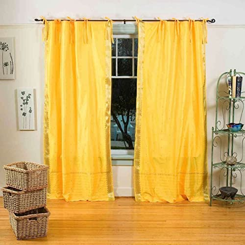 Indian Selections Lined-Yellow Tie Top Sheer Sari Curtain/Drape/Panel