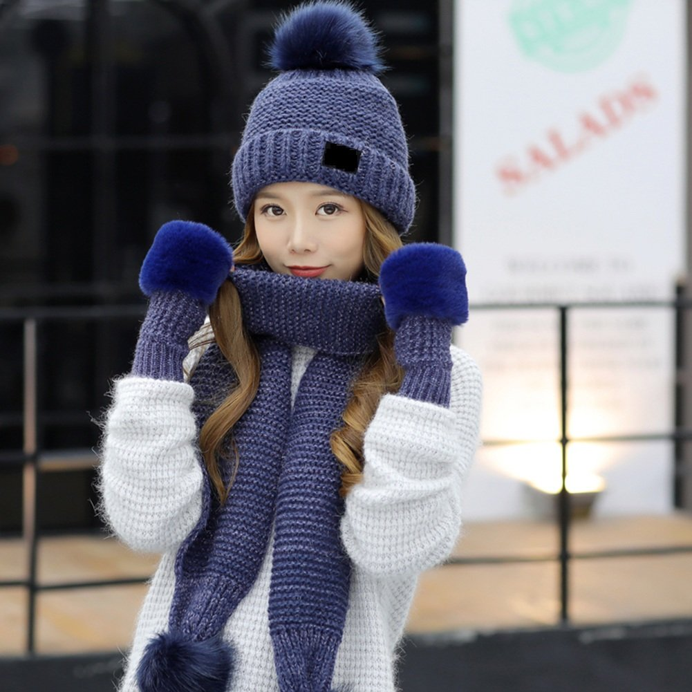 881c6ae786c Amazon.com  PENGFEI Scarf Hat Gloves 3-Piece Set Thickening Add Flannel  Knitting 7 Colors Optional