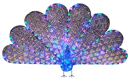 33 x 60 majestic regal peacock lighted led christmas yard art decoration