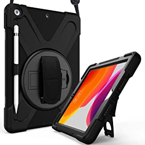 "ProCase iPad 10.2 Case 2020 iPad 8th Generation Case / 2019 iPad 7th Generation Case, Rugged Heavy Duty Shockproof Rotatable Kickstand Protective Cover for 10.2"" iPad 8 / iPad 7 -Black"