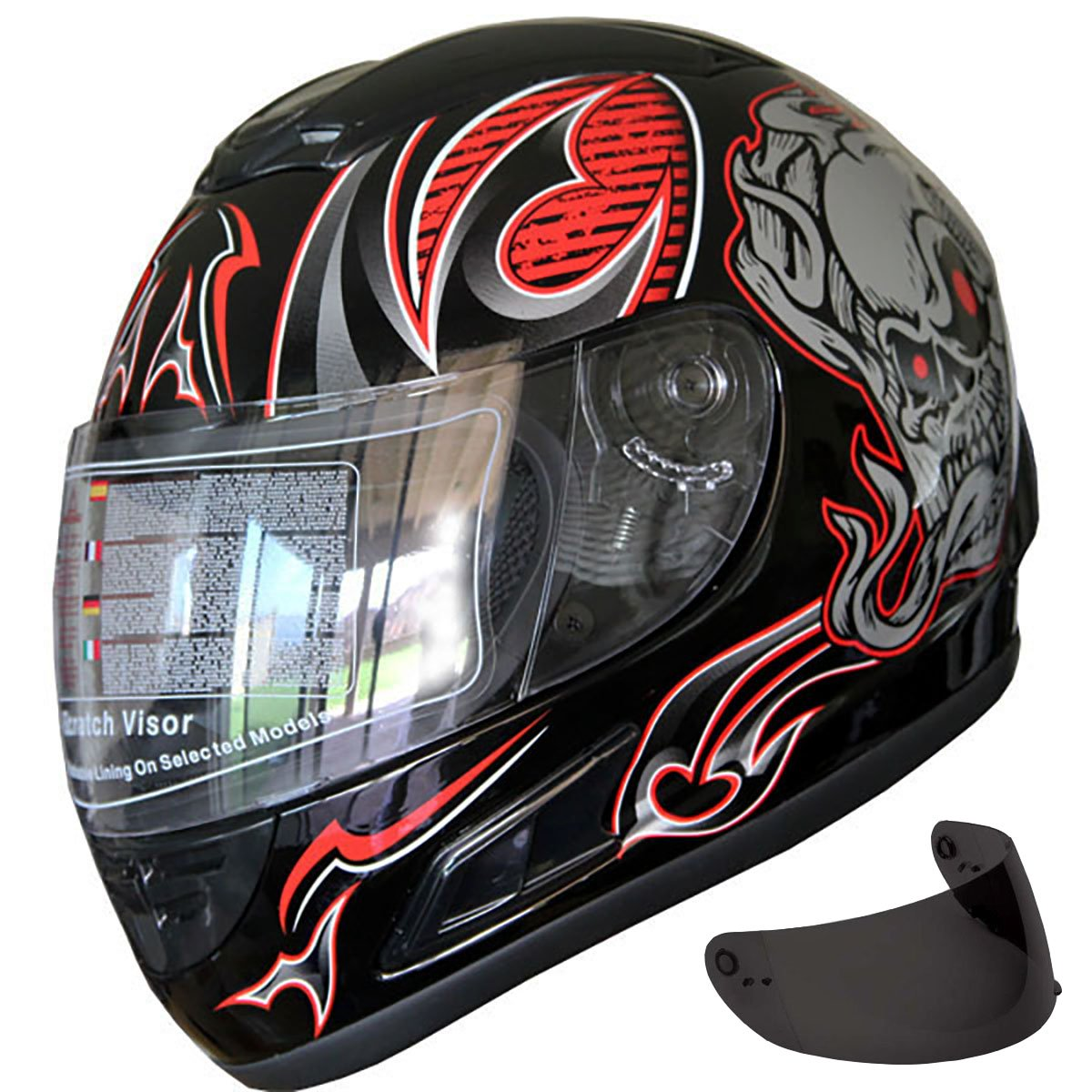 Motorcycle Street Sport Bike Helmet Full Face Helmet 2 Visors Comes with Clear Shield and Free Dark Tinted Shield (F54_Red, XS)