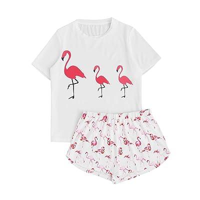 4808ad8c6ba7 DIDK Women s Cute Cartoon Print Ice Tee and Shorts Pajama Set ...
