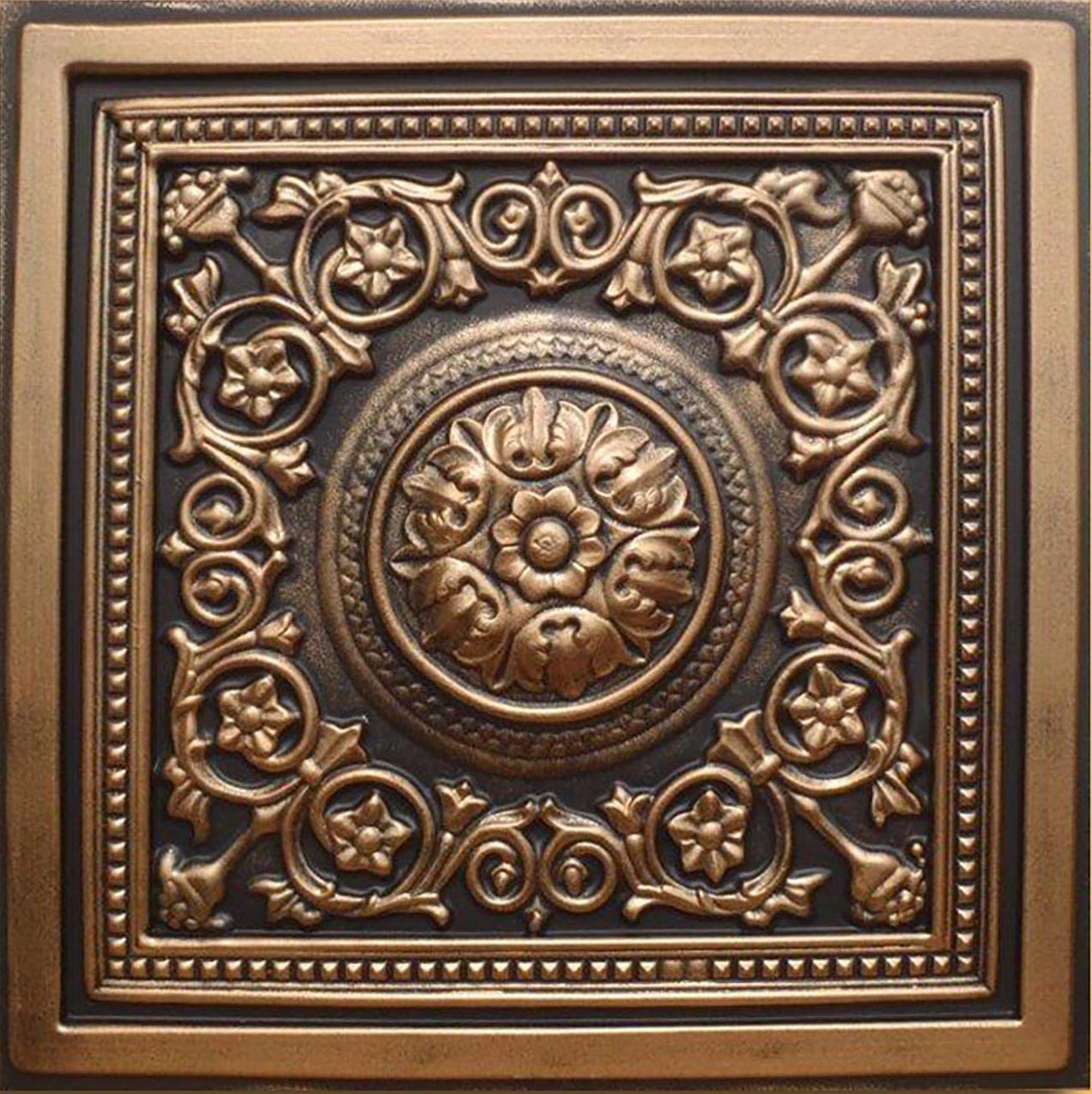 30pc of Majesty Bronze/Black (24''x24'' PVC 20 mil) Ceiling Tiles - Covers About 120sqft by Antique Ceilings (Image #1)