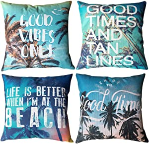 """ULOVE LOVE YOURSELF 4pack Beach Throw Pillow Covers Ocean Theme with Coconut Palm Pattern Cushion Covers Summer Decor Pillowcases 18""""×18""""(Coconut Palm)"""