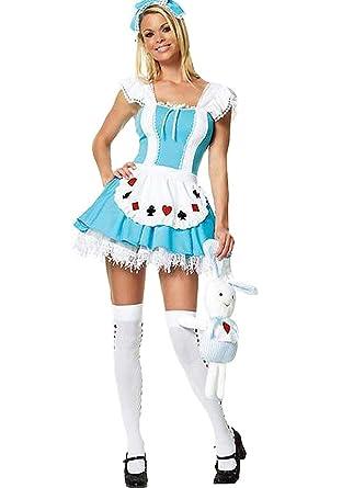 Forever Young Alice In Wonderland Ladies Fancy Dress Costume XS S M L +  FREE STOCKING! (UK Size 16): Amazon.co.uk: Clothing