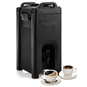COSTWAY Insulated Beverage Server/Dispenser, with Seamless Double Walled Shell, 5 Gallon Beverage Carrier, Food-grade LLDPE Material, with Spring Action Faucet, for Restaurant, Hotel and Drink Shop