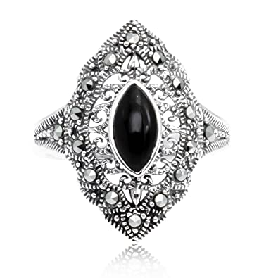 19c0bc21ad535 Chuvora 925 Oxidized Sterling Silver Marcasite Marquise Black Onyx Ring
