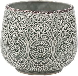 Little Green House Round Ceramic Vase, Green