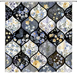 Blue and Yellow Floral Shower Curtain Watercolor Butterfly Blossom Botanical Meadow Geometric Quatrefoil Ogee Trellis Fabric Bathroom Decor,Hooks Included,71 X 71 Inches,Black White Gray
