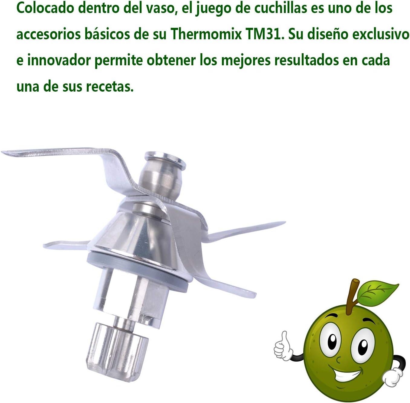 TM31 Cuchillas de Acero Inoxidable de Repuesto para Vorwerk Thermomix TM31 Robot de Cocina con Junta: Amazon.es