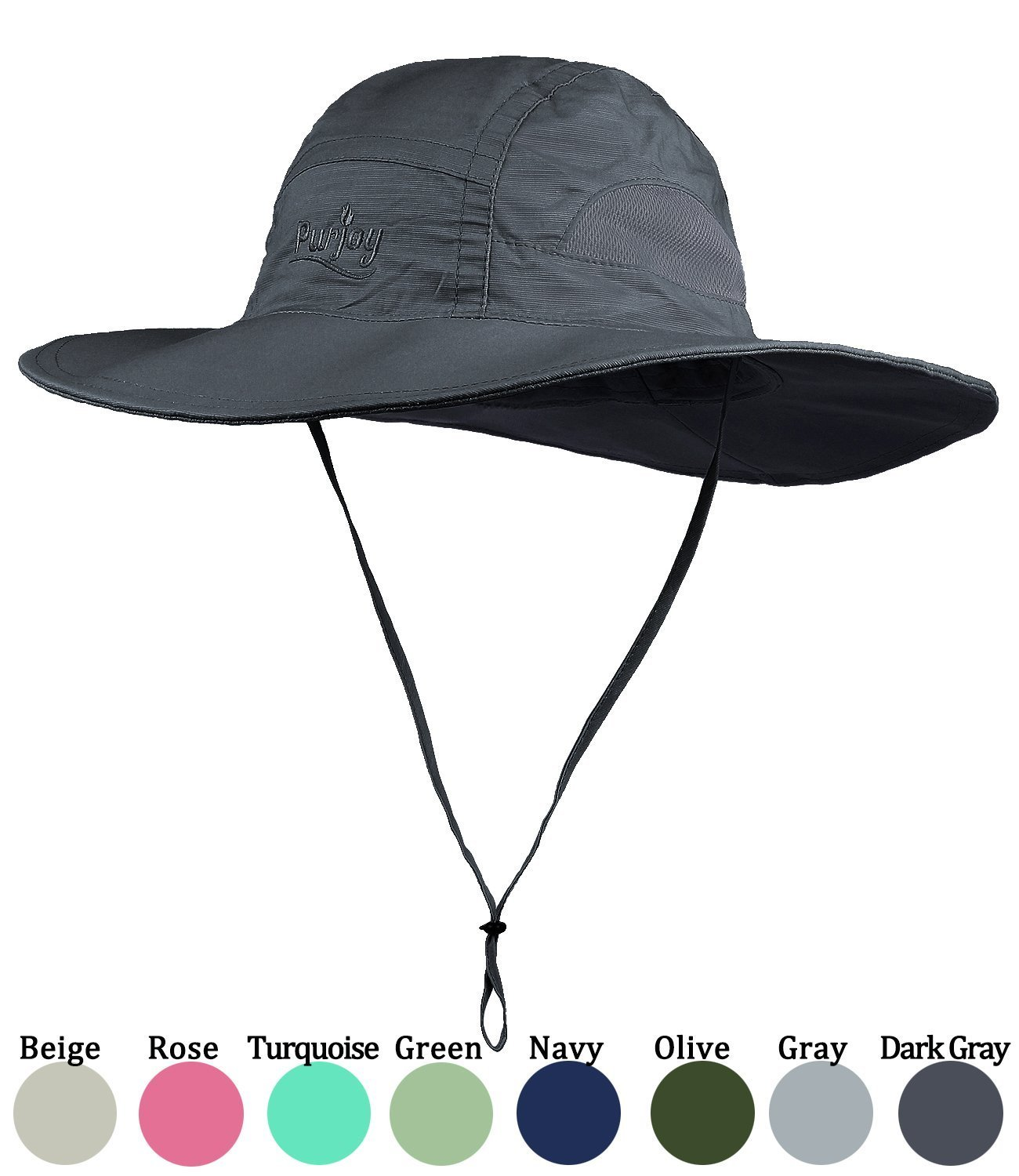 Purjoy Sun Hat for Men & Women,Wide Brim UPF 50+ UV Protection Beach Cap, Breathable Outdoor Boonie Hats with Adjustable Drawstring Design,Perfect for Hiking,Fishing,Camping,Boating,Safari (Dark Gray)