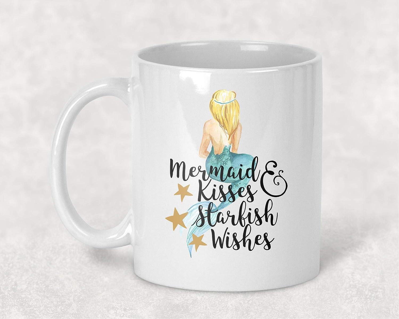 Amazon Com Mermaid Kisses And Starfish Wishes Watercolor Art Mug Coffee Cup Gift For Her Handmade