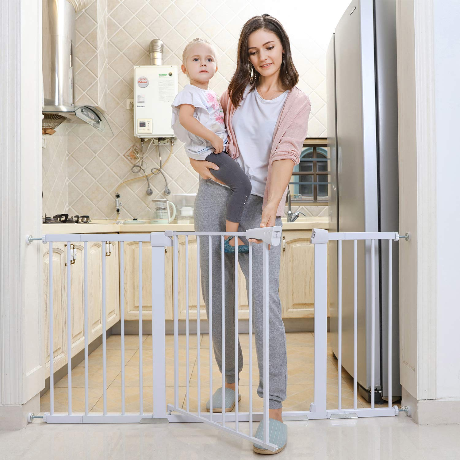 Safety Baby Gate,29.5-40.5 inch Auto Close Features Luxury Extra Tall Wide Child Gate, Heavy-Duty gate, Easy Walk-Thru pet Gate for The House, Stairs, Doorways Hallways. Applicable 29.5 -40.5