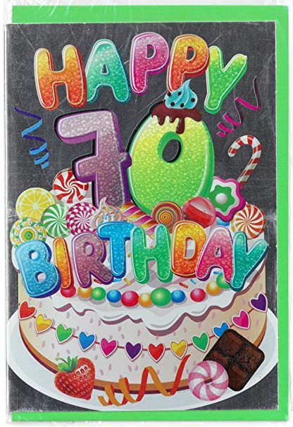 Tarjeta Felicitación cumpleaños Metal 70 años 12 x 17 cm 1pz ...