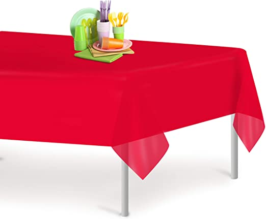 Amazon.com: Red 6 Pack Premium Disposable Plastic Tablecloth 54 ...