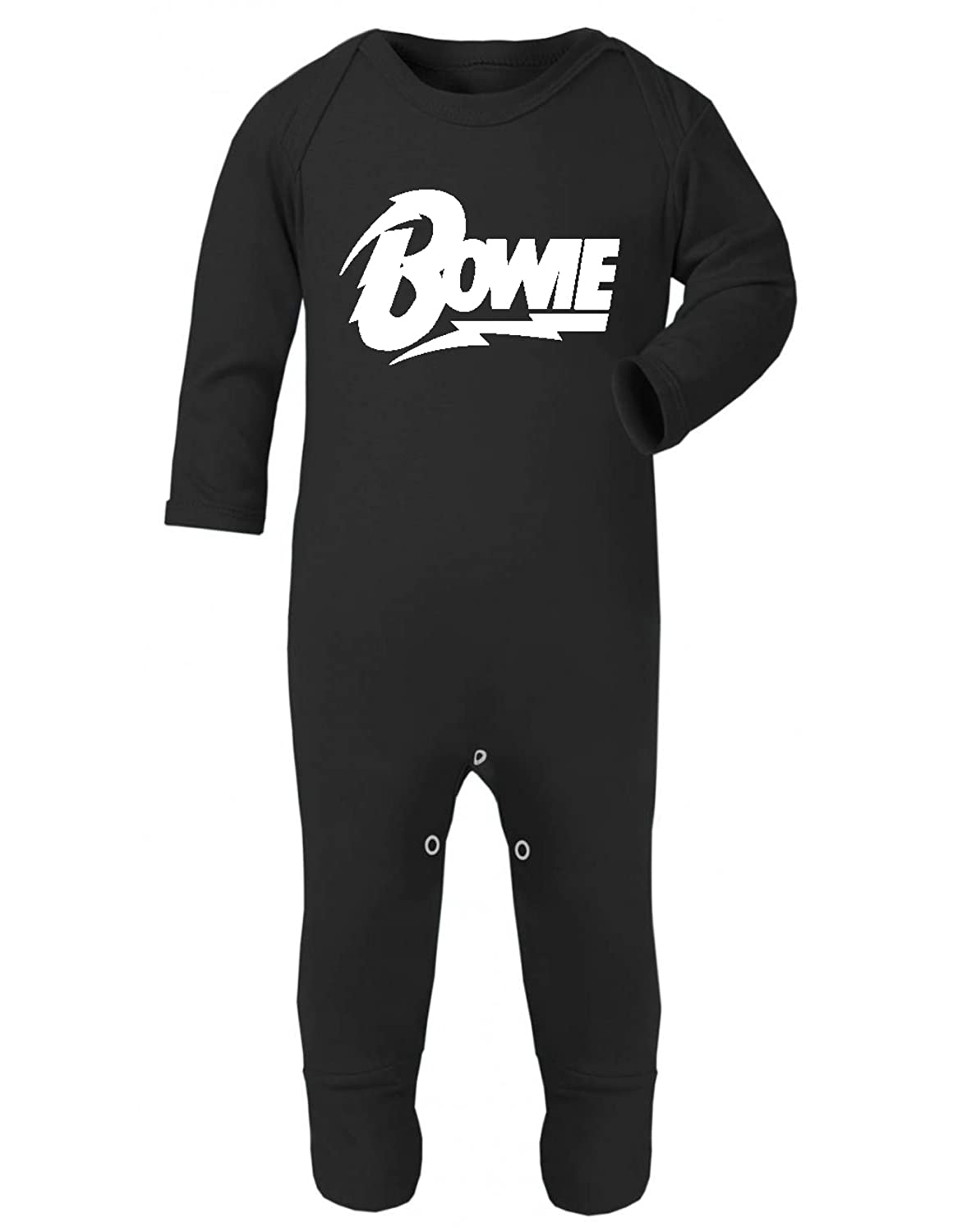 Bowie Rompersuit Baby Grow Black (3-6 Months) ICKLE PEANUT