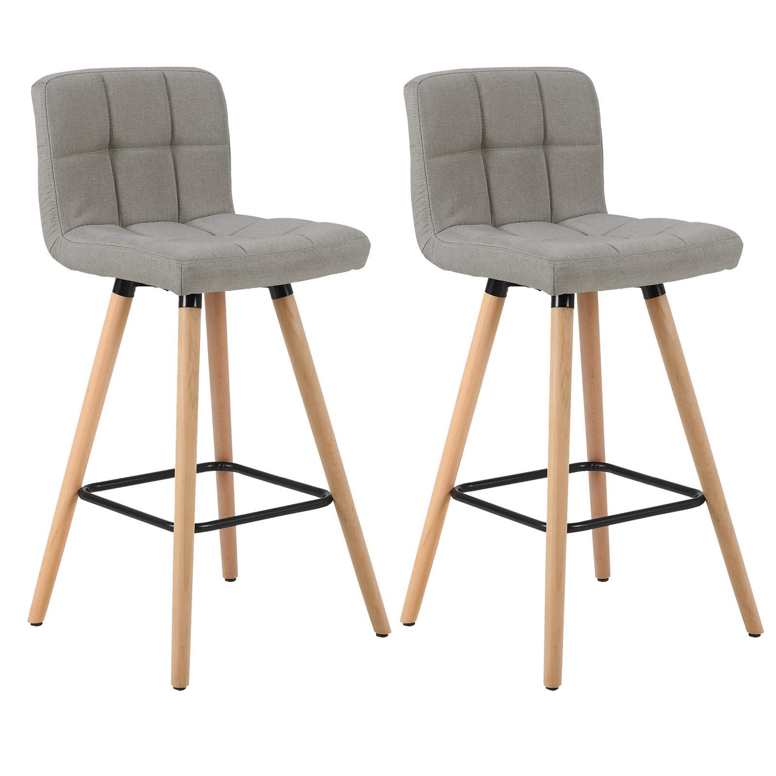 WOLTU Bar Stools Set of 9 PCS Soft Linen Seat Bar Chairs Breakfast ...