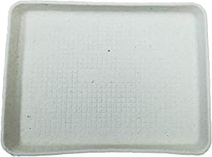 "MT Products Off White Rectangular Molded Fiber Pulp Cafeteria Style Food Tray Size of 9""x 12 (15 Pieces)"