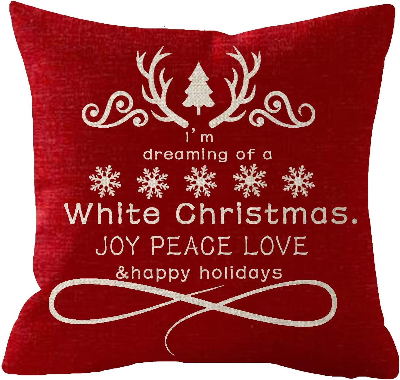 Newhomestyle Throw Pillow Cover Happy Holiday Snowflakes Trees Im Dreaming of A White Christmas Red Cotton Home Decor Square Cushion Pillowcase 24x24 in