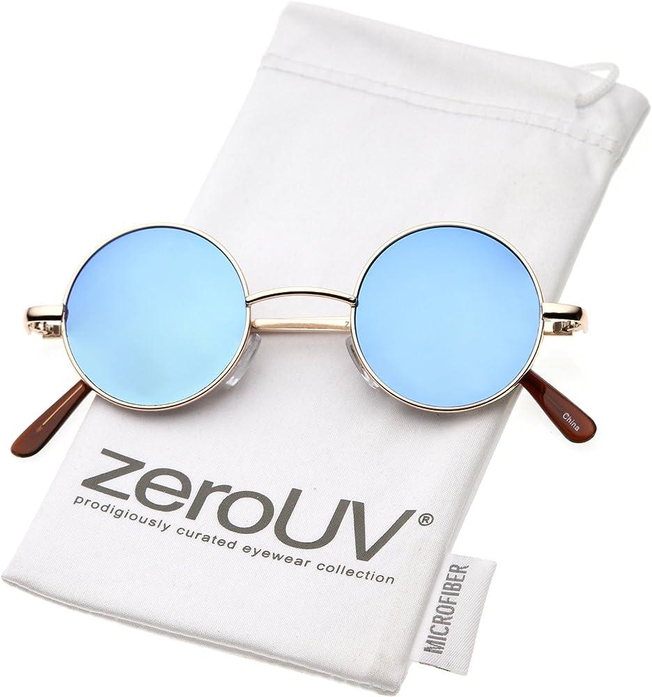 c28c6db126bb zeroUV - Retro Round Sunglasses for Men Women with Color Mirrored Lens John  Lennon Glasses (