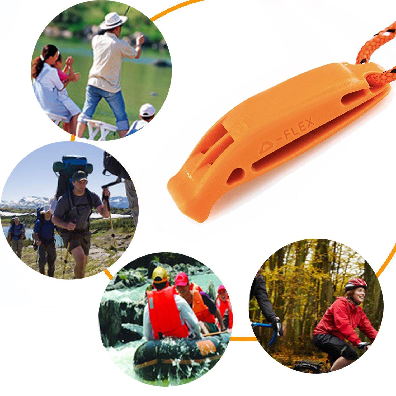 Chie no fukuro Silbato de Seguridad con cord/ón para canotaje Kayak de Senderismo Emergencia Supervivencia Vida Chaleco se/ñalizaci/ón Rescate,Naranja 6 Unidades