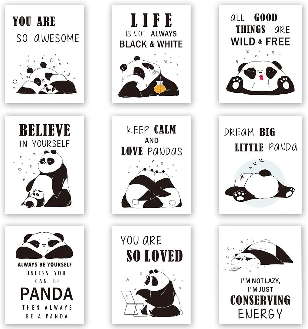 Unframed Adorable Panda Art Print&Motivational Words Wall Art, Set of 9(8''x10'') Canvas Dream Big Little Panda Print for Nursery and Kids Room Decor
