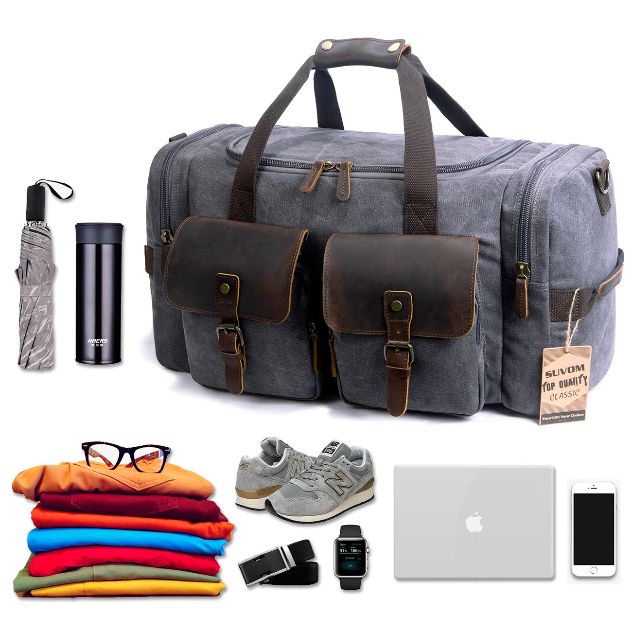 Weekender Duffle Bag Canvas Leather Travel Oversized ...