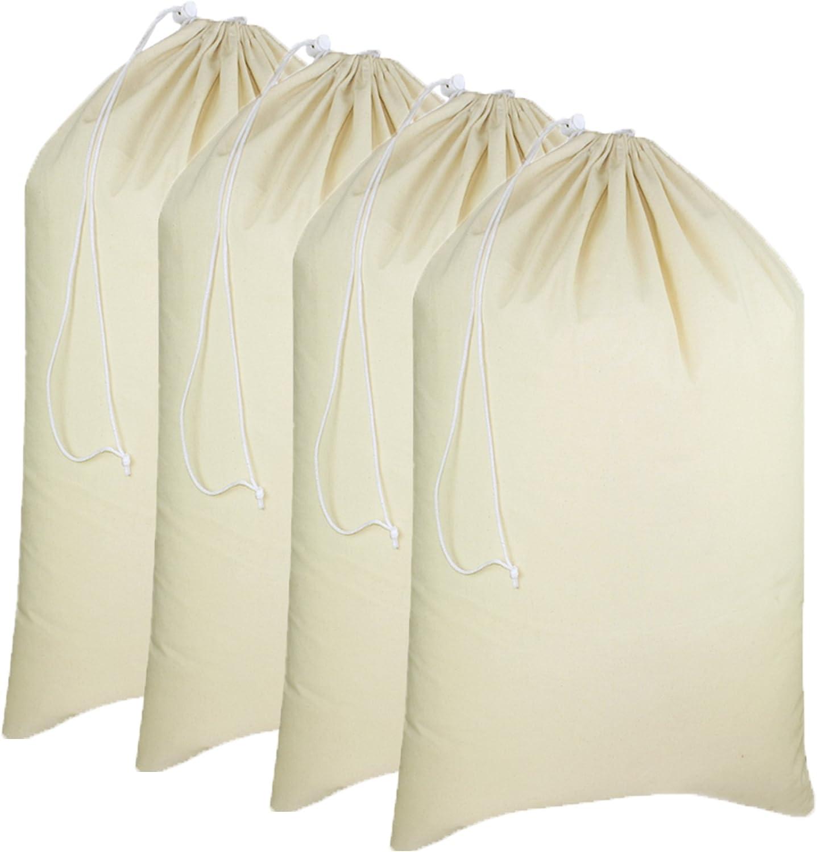 "COTTON CRAFT - 4 Pack Extra Large 100% Cotton Canvas Heavy Duty Laundry Bags - Natural Cotton - 28""x36"" - Versatile - Multi Use - Santa Sack"