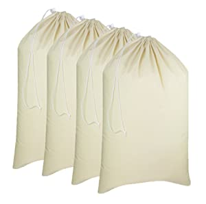 "Cotton Craft - 4 Pack Extra Large 100% Cotton Canvas Heavy Duty Laundry Bags - Natural Cotton - 28""x36"" - Versatile - Multi Use - Santa Sack"