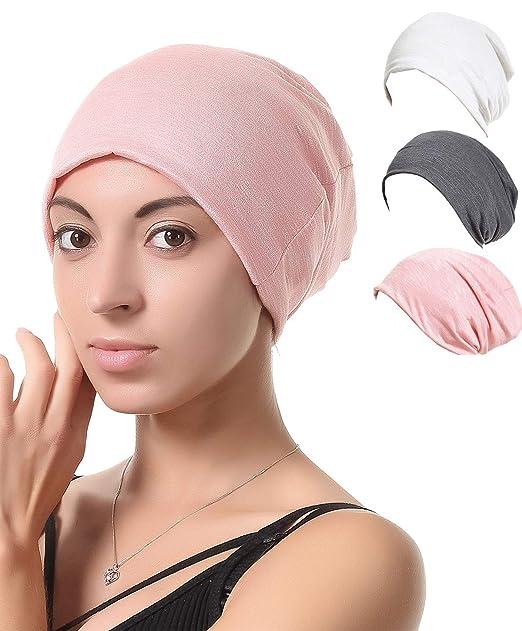 b4020c556c2ef Night Sleep Cap Chemo Hat - Grey Black Women Soft Slouchy Beanie Bamboo  Summer Cancer Headwear