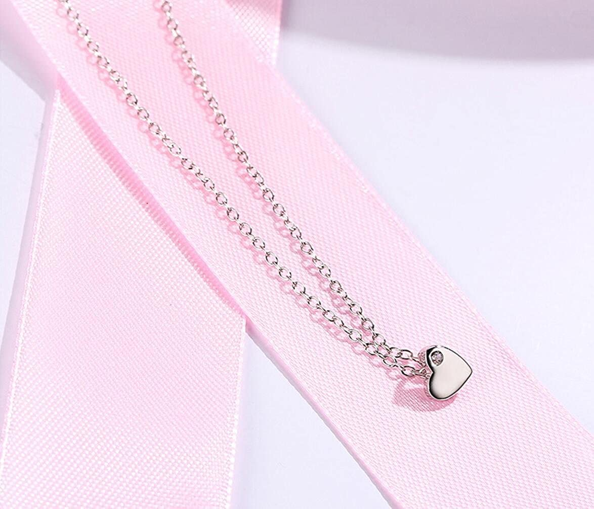 AFSSHOPPING 925 Sterling Silver Tiny Silver Floating Heart Necklace 18