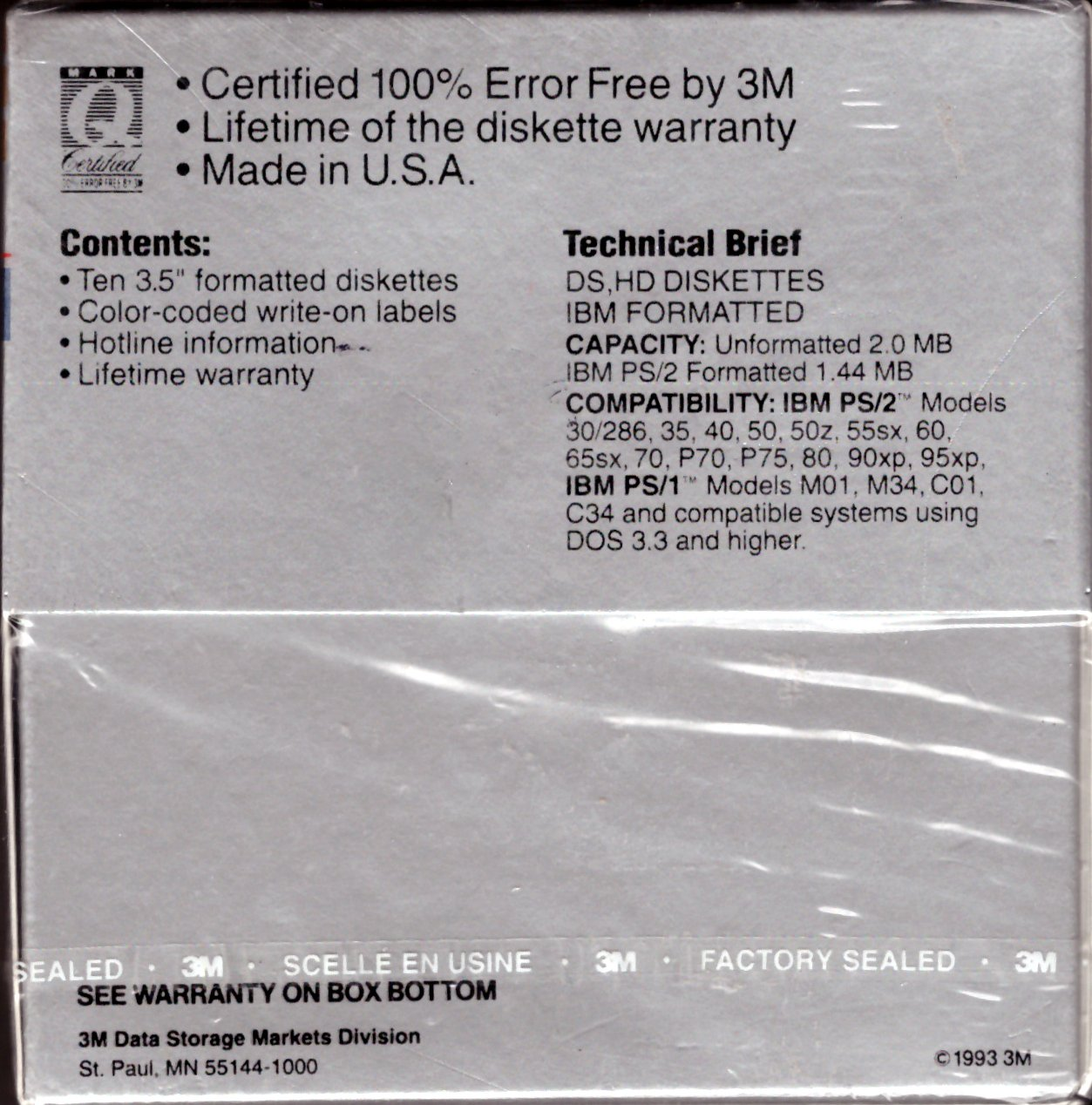"""3M DS,HD 11 Double Sided High Density IBM-Formatted 3.5"""" Diskettes"""
