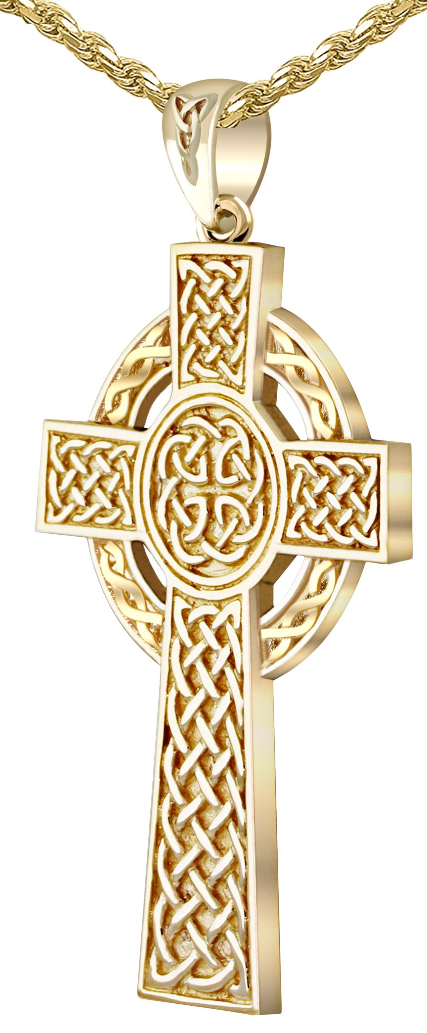 Men's 1.75in Heavy Solid Back 14k Yellow Gold Irish Celtic Knot Cross Pendant 1.75mm Rope Necklace, 18''