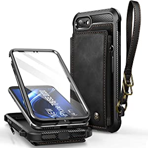 Dracool Compatible with iPhone SE (2020)/ 7/8 Wallet Case Flip Cover with Card Holder Slots Screen Protector for Men Boys Premium Leather Magnetic Strap with Zipper RFID Shockproof Bumper Black