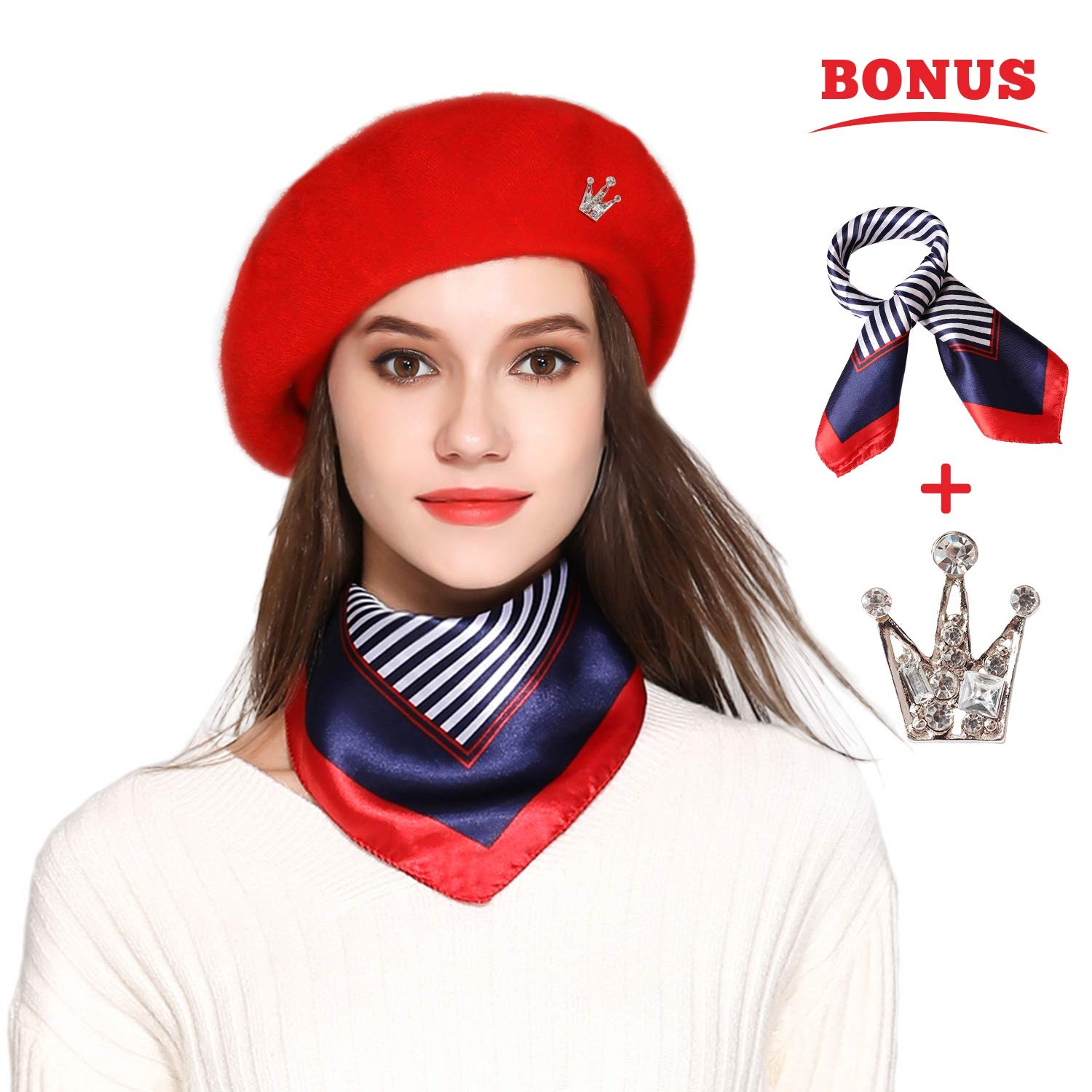 Wool Beret Hat Solid Color French Beret Skily Scarf Brooch (red)