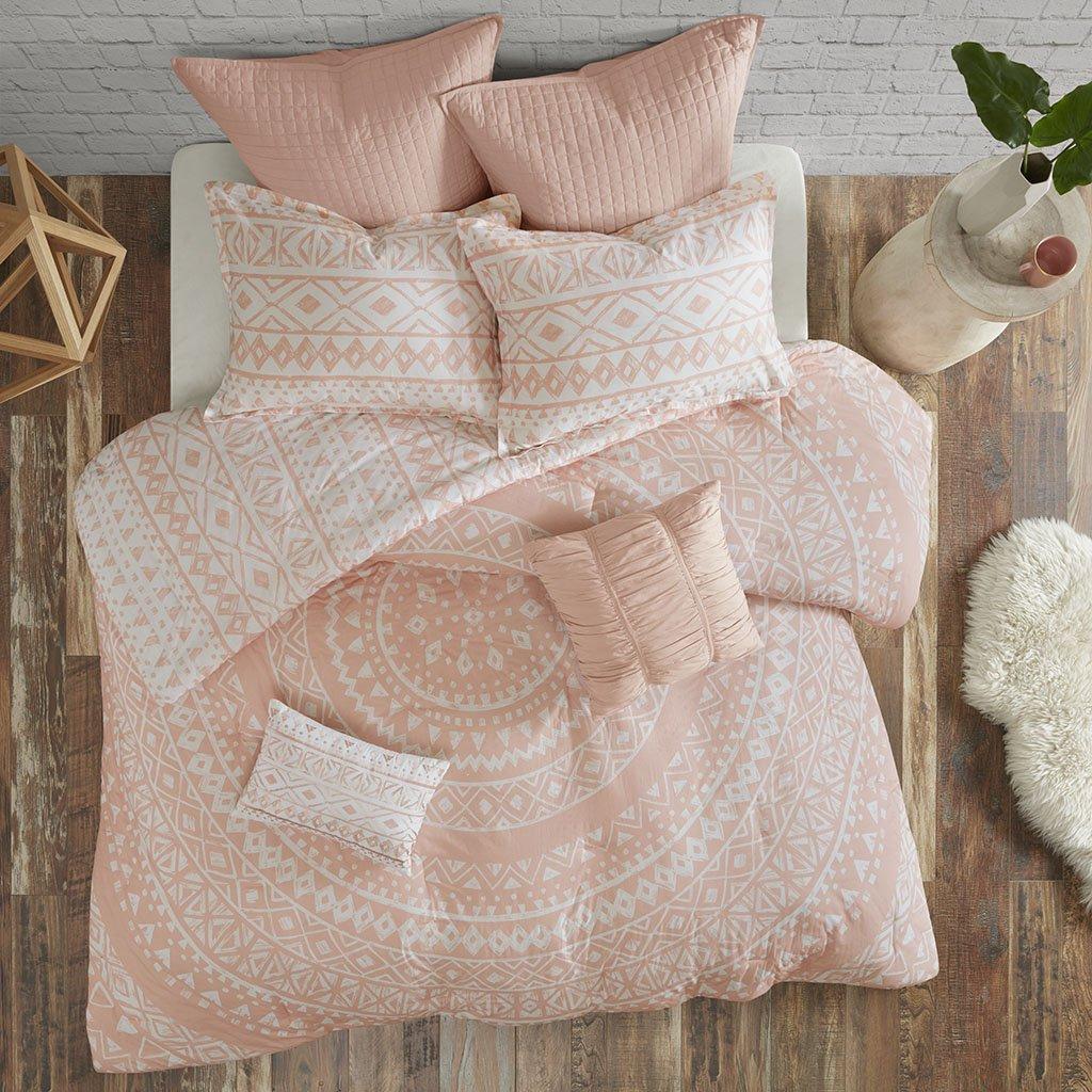 Urban Habitat Larisa 7 Piece Cotton Duvet Cover Set Blush Full/Queen