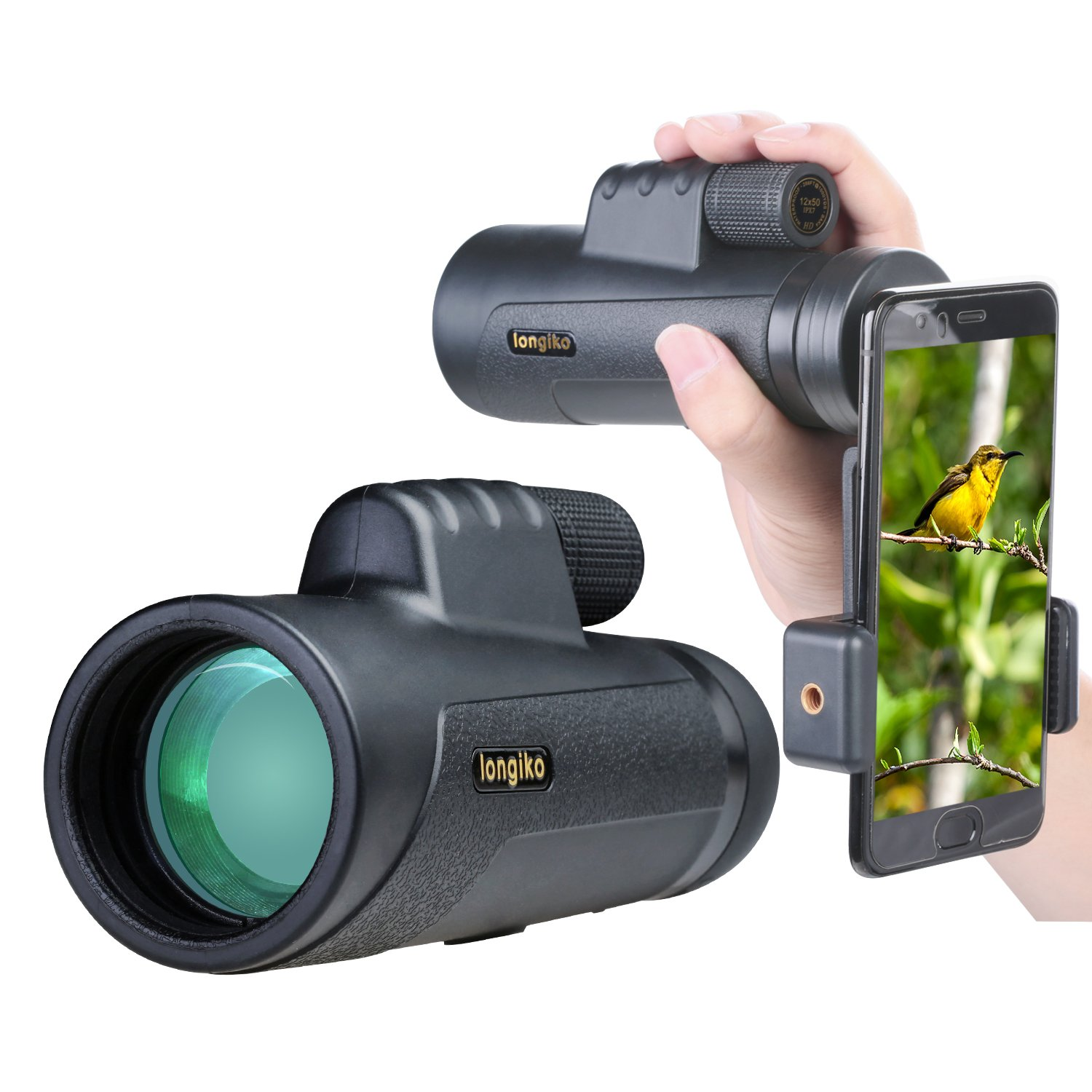 12X50 Monocular Scope, High Power Prism Monocular,Nitrogen Filled Waterproof Fog-proof IP7X Shockproof BAK4 Prism FMC Quick Smartphone Holder for Bird Watching Hunting Camping Travelling Wildlife Sece by longiko