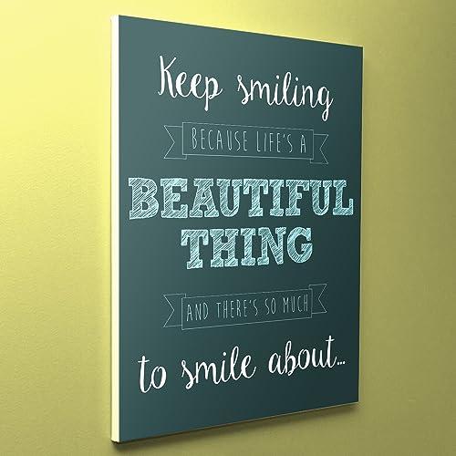 com inspirational wall art canvas quotes keep smiling