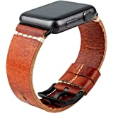 MAIKES Compatible with Apple Watch Band Genuine Oil Wax Leather Watch Strap/Watchband Replacement for iWatch SE Apple Watch 4