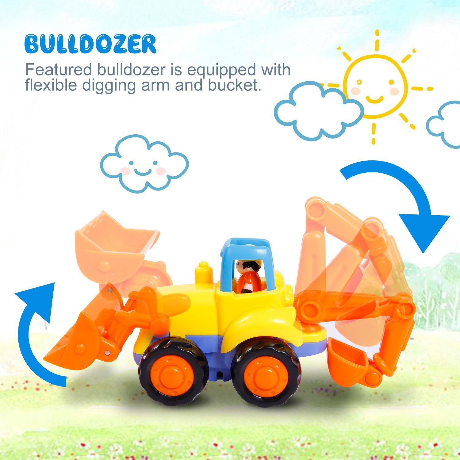 Friction Powered Cars Push and Go Car Construction Vehicles Toys Set of 4 Tractor,Bulldozer,Cement Mixer Truck,Dumper Push Back Cartoon Play for  2 3 Years Old Boys Toddlers Kids Gift by GoStock (Image #5)
