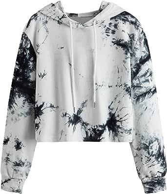 ROMWE Women's Casual Floral Long Sleeve Pullovr Hoodie Knit Sweatshirt