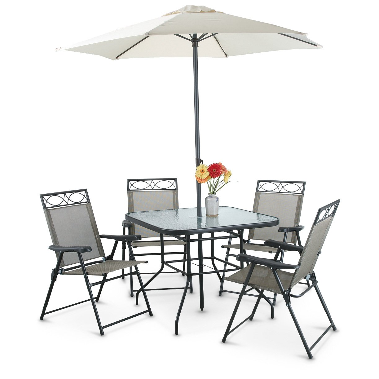 CASTLECREEK Deluxe Outdoor Patio Table & Chairs Furniture Set, 6 Piece