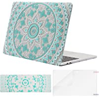 MOSISO MacBook Pro 13 Plastic Pattern Hard Case 2019 2018 2017 2016 A2159 A1989 A1706 A1708 w/&w/o Touch Bar,Case&Keyboard Cover&Screen Protector Compatible Mac Pro 13,Hot Blue&White Mandala